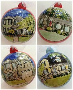 Custom home portrait Christmas ornament by MagicMarkingsArt, $30.00