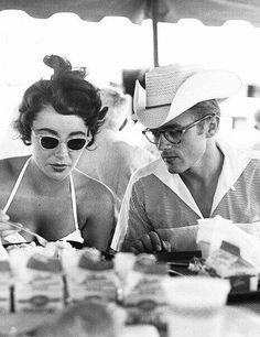 Elizabeth Taylor & James Dean on the set of, Giant, 1955
