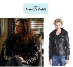 "On the blog: Mandy Sutton's (Alexandra Chando) black leather jacket with knit collar | Castle - ""Limelight"" (Ep. 613) #tvstyle #tvfashion #outfits #fashion #mandymelody 