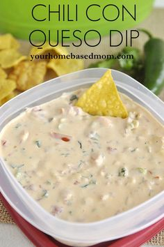 Chili Con Queso Dip @yourhomebasedmom.com  #appetizers, #dip, #recipes