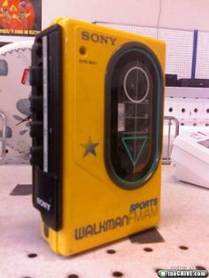 "80s cassette tape ""WALKMAN"". I actually still have a working one AND cassette tapes in my dresser drawer ;)"