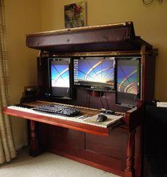 Piano converted into office desk