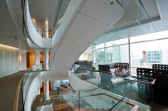 A 33-foot-high open mezzanine allows for astunning view of the Space Needle three blocks away.