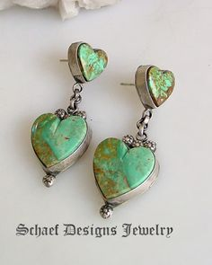 Gary G turquoise heart dangle Southwestern earrings | Schaef Designs | New Mexico