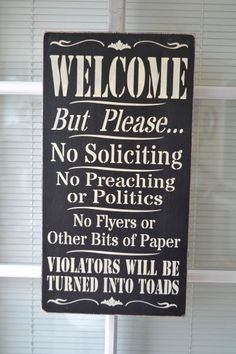 Welcome No Soliciting, 9.5x18 Primitive Wood Sign, CUSTOM STENCIL Custom Colors