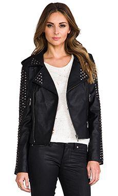 Lovers + Friends REVOLVE Exclusive Rhona Embellished Vegan Leather Jacket in Black | REVOLVE