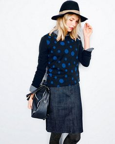 A denim pencil skirt is the perfect starting point for a casual yet chic outfit. Balance the proportions by pairing the fitted skirt with a boxy or oversized sweater. I like to finish it off with ballet slippers for a sleek and modern look. - Anne Keane, Lucky Magazine