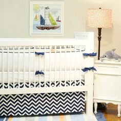 #chevron crib bedding #nautical