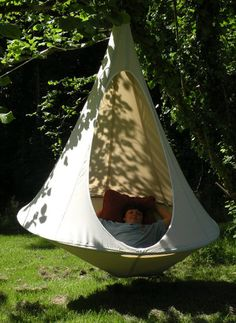 A blend of hammock, swing, hanging garden chair, teepee with a bit of bird nest, Cacoon is a new way to hang out and chill in the garden, on the patio, or in your living room. And it's easy to bring with you or move from spot to spot: A single Cacoon packs down to a less than 8 x 31 inches, and it's as easy to hang as it is to hang out in.