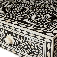 Bernhardt Interiors. Padma Desk with ivory color bone inlay. #blackandwhite