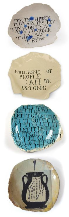 works by South African artist Ruan Hoffmann, who works with graphics and lettering on clay www.ruanhoffmann.... #ceramics #art #typography