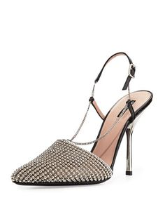 Beaded Mesh Slingback Pump, Silver by Giorgio Armani at Neiman Marcus.