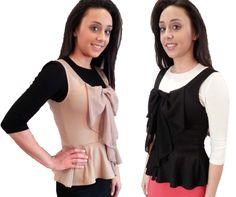 Peplum Vest with Bow - $24.00 :: DCM Apparel - Modern Modest Clothing