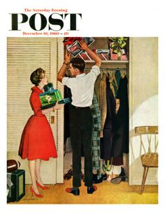 """""""Christmas in Hiding"""" by George Hughes. Issue: December 10, 1960. ©SEPS. Giclee print available at SEPS."""
