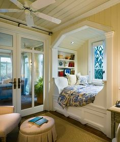 Bed in a nook. little bedroom, book nooks, reading nooks, place