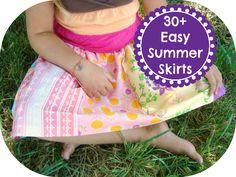 Over 30 tutorials for Summer Skirts for Girls. Easy Elastic Waist Skirts / patchwork posse #tutorial #summer