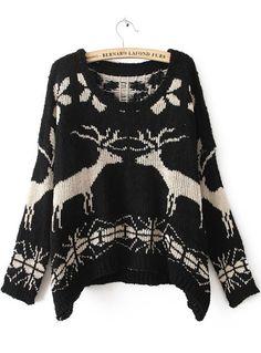 Black Batwing Long Sleeve Deer Print Sweater