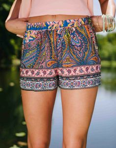 aztec pink printed shorts geometric