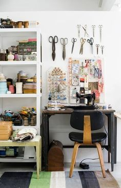 Lotta Jansdotter via Design Sponge | white walls + scissor display