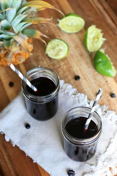 Chicha Morada- Peruvian Purple Corn Drink.  Intensely hued but subtly spiced.
