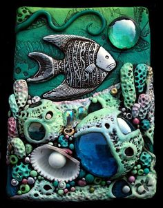 ACEO Coral Reef Polymer Clay and Glass Original by MandarinMoon,