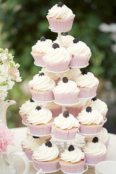 Blackberry cupcake tower