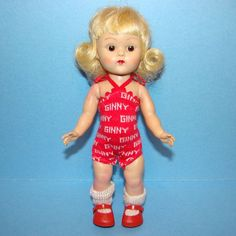 Vogue Ginny Doll SLW Brown Eyes Platinum Flip Wig in Red Swimsuit C1954