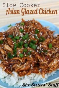 Six Sisters Slow Cooker Asian Glazed Chicken. It's so easy, just throw it all in the slow cooker!