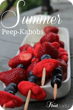 Here's a fun summer snack for the kids - Summer Peep Kabobs!  Peeps are great all year long! #kids #snacks #treats