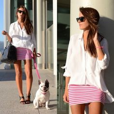 Loose blouse tight skirt