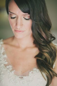 side-swept waves, photo by Fondly Forever http://ruffledblog.com/intimate-big-sur-wedding #hair #wavy #bridal