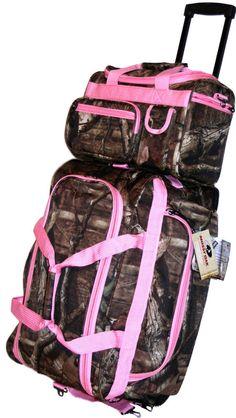 "22"" +13"" Pink Mossy Oak Camo Set Rolling Duffle Bag Piggyback Camouflage CarryOn"