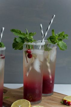 Cranberry Mint Cocktails--what to do with that leftover cranberry sauce.