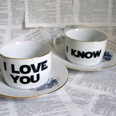 His and Her's mugs. So cute :)