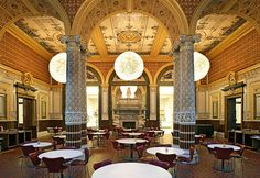 The V Cafe at the Victoria and Albert Museum in London is set in the 160-year-old refreshment rooms designed by William Morris. Afternoon tea is accompanied by a pianist on Mondays or harpist on Wednesdays. Gloriously grand and traditional.