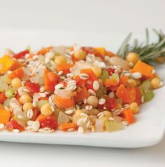 Barley and Vegetables is just perfect for fall - a blend of onions, carrots, celery and butternut squash is tossed with barley, tomatoes and 2 kinds of beans. Guaranteed to satisfy.