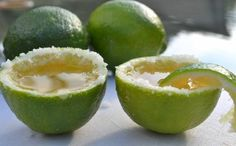 Margarita shots, served in a lime!