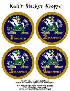 Notre Dame Fighting Irish Baby Monthly by KalisStickerShoppe, $10.00