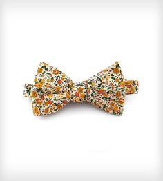 Mustard Floral Bow Tie
