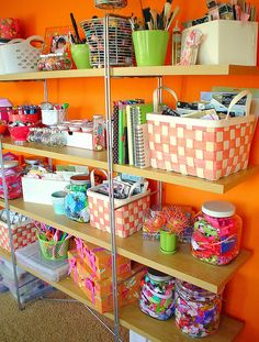 So vibrant! #craftroom #bright idea, open shelves, christmas holidays, craftroom, bold colors, craft room storage, bright colors, crafts, craft rooms