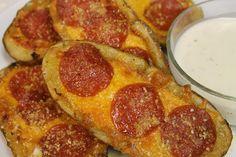 Pepperoni Pizza Potato Skins!  These look so good!!