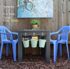Delightful Mom: Repainted DIY End Table Turned To Kids Table