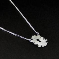 Keyhole necklace  silver tone steel  tiny by UntamedMenagerie, $20.00