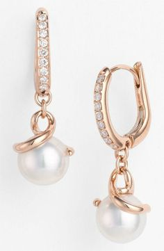 Perfect for the bride - Pearl & Diamond Earrings