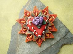 Sacred Heart Brooch 6 Harvest MHA by mariesegal on Etsy, $25.00