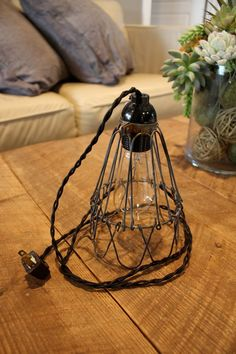 Industrial Cage Wire Pendant Light or Desk by IlluminateVintage, $27.99