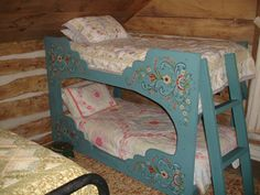 Rosemaling on cabin bunk beds