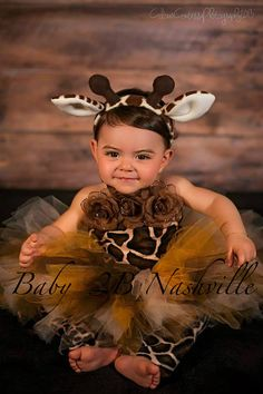 Baby  Brown GiraffeTutu Outfit up to 24M by Baby2BNashville, $70.00