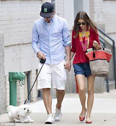 Olivia Palermo and boyfriend Johannes Huebl stop by a West Village bicycle shop to buy a Nantucket Bike Basket.
