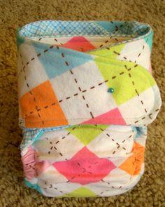 Fitted Cloth Pocket Diaper--Modern Argyle with Blue Checks. $9.99, via Etsy.